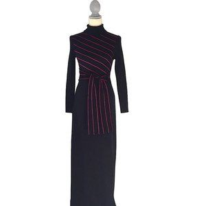 Vintage 70's Mod Black Knit Maxi Dress S